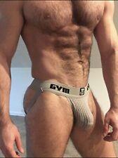 "GYM Men Jockstrap 2"" Waistband Underwear Gray Similar To BIKE Size Large NEW"