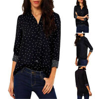 V-Neck Women Casual Long Sleeve Chiffon Button Dots T Shirt Loose Tops Blouse