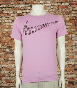 Nike Pro Dri-Fit Hyper Dry Pink Swoosh Active Tee Shirt Mens Small