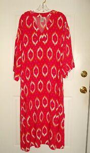 Natori Caftan Multi-Colored Pink Orange White Rayon Lounge Beach Dress! Sz L