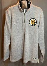 NWT BOSTON BRUINS ADIDAS Gray Team Logo Quarter-Zip Pullover Jacket SZ L