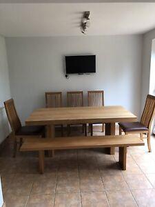 John Lewis Henry Oak Veneer Dining Table (8 Seater) 5 Chairs Plus 3 Seater Bench