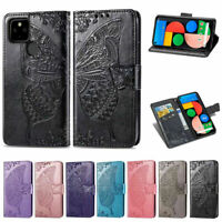 For Google Pixel 5 4A 5G 3A XL Embossed Butterfly Leather Flip Wallet Case Cover