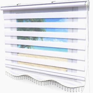 Doppelrollo Klemmfix ohne Bohren Weiß Fensterrollo Seitenzug mit Perlen Gardine