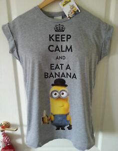 Primark MINIONS T Shirt WOMEN'S ladies Top KEEP CALM AND EAT A BANANA UK 6