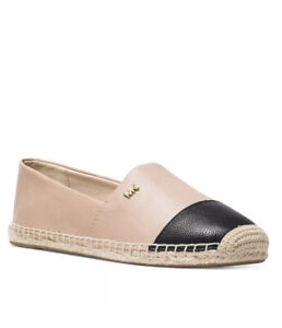 Women MK Michael Kors Kendrick Espadrille Flat Tumbled Leather Oyster/Black