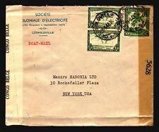 Belgian Congo 1944 Dual Censor Cover to USA / Bottom Fold - Z14342
