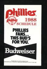 Philadelphia Phillies--1988 Pocket Schedule--Budweiser