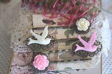 Vintage Style Swallow Bird Bobby Pins & Rockabilly Retro Rose Flower Hair Pins