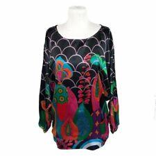 Desigual XL Blouse Shirt Long Sleeves Modern Art To Wear Boho Lagenlook