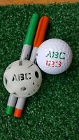 Golf Ball Stencil - Custom Initials, numbers plus 3 circles, 2 lines, 3 shapes.