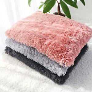 Warm Large Dog Bed Mat PLUSH Pet Sleeping Cushion Washable Cat Puppy Mattress