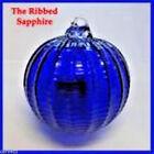 "Hanging Glass Ball 4"" Diameter Cobalt Blue Ridged Witch Ball (1) HGB14-1"