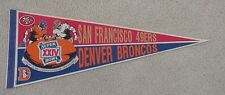 1990 SUPER BOWL XXIV DENVER BRONCOS SF 49ERS GAME DAY PENNANT UNSOLD STOCK