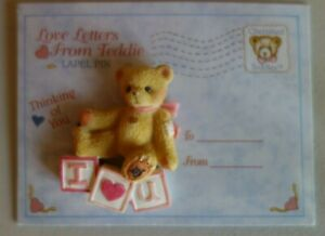 Enesco Cherished Teddies Love Letters From Teddie Lapel Pin Thinking Of You