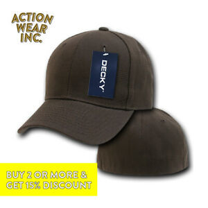 DECKY 402 MENS PLAIN HAT FITTED PRE CURVED BILL BASEBALL HATS CLASSIC CAP CAPS