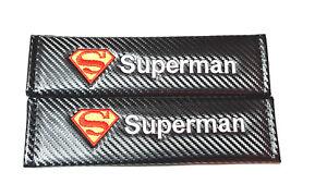 2X NEW Superman Carbon Fiber Seat Belt Cover Shoulder Pad Cushion Universal