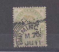GB QV 1884 4d Green Perfin SG192 Birmingham CDS Fine Used JK1407