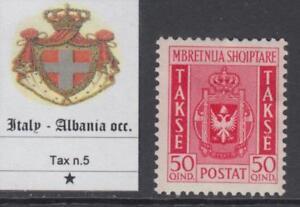 ITALY occ. ALBANIA  Sassone Tax n.5 MH* cv 120$   RARE