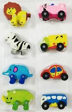Cute Animal Car Vehicle Toy Gifts Rubber Pencil Eraser Party Set Kids