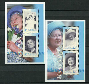 s8536) PAPUA & NEW GUINEA MNH** Nuovi** 2002, Queen mother 2 s/s