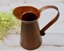"""Rustic farmhouse dark brown 6"""" tall decorative metal pitcher vase with handle"""