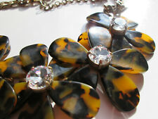 J. Crew Large Faux Tortoise Shell Flower Necklace with Rhinestone Centers