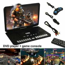 "HD TV 13.9"" Portable 16:9 DVD Player 270° Swivel LCD Screen FM USB Car Charger"