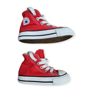 CONVERSE All Star Red Hi Top Shoes Baby Infant Toddlers Sneakers 7J232 UK Size 4