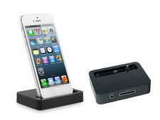 Charging & Syncing Dock Station with 3.5mm Jack for Apple iPhone 5 5G BLACK