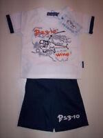 Completo neonato bimbo maglia t-shirt pantaloncini bermuda 6 12 18 24 30 36 mesi