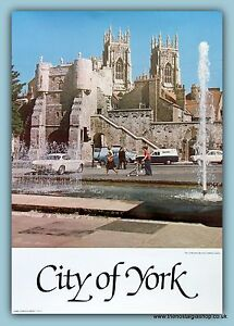 York Bootham Bar, Poster from the 1970's. Size 24 x 17 inch.
