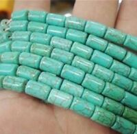 """Natural beauty 6x9mm Green turquoise barrel loose beads 15"""" JL101"""