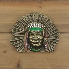 BRONZE NATIVE AMERICAN CHIEF METAL BELT BUCKLE  HEBILLA #134