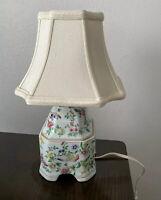 Vintage Porcelain Ceramic Chinoiserie Floral Bedside Tabletop Lamp Multicolor 15