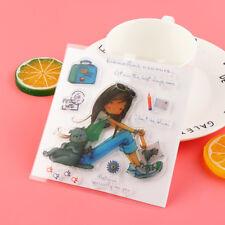 Cat Girl Scrapbooking Album Cards Transparent Silicone ClearStamps DIYCraft