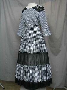 Civil War Dress Victorian Costume Edwardian Reenactment Black & White