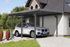 Einzelcarport GRAU 300x500 cm Carport Garage Holz Unterstand Flachdach 9x9 cm