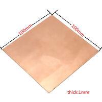 1pc 99.9% Pure Copper Cu Metal Sheet Plate 1mm*100mm*100mm