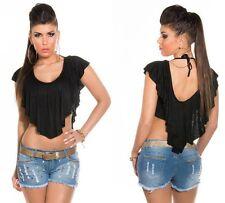 TOP CORTO NERO maglietta crop donna con BALZA DRAPPEGGIATA doppio strato fashion
