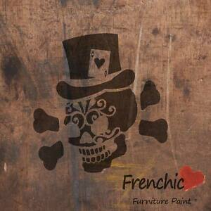 Gambling Jack Skull Stencil Tattoo Frenchic Chalk & Mineral Paint A4 Decal Art