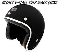 CASQUE WYATT   VINTAGE MOTORCYCLE SCOOTER HELMET SIZE S / BLACK GLOSS
