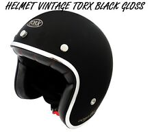 3/4 OPEN FACE VINTAGE MOTORCYCLE SCOOTER HELMET SIZE L  / BLACK GLOSS