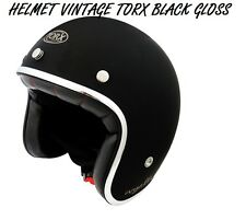 3/4 OPEN FACE VINTAGE MOTORCYCLE SCOOTER HELMET SIZE XL  / BLACK GLOSS