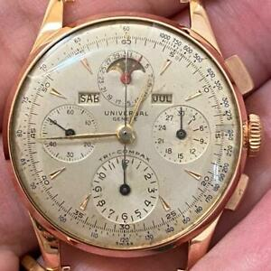 UNIVERSAL GENEVE TRI-COMPAX 12552 18KT ROSE GOLD CHRONOGRAPH VINTAGE WATCH
