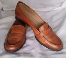 Enzo Angiolini Leather Shoes Womans Size 5.5 M Loafers Slip On Garrison Camel