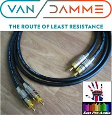 2m Pair - Van Damme RCA Phono Cables - Pro Grade Silver Plated Pure OFC Black