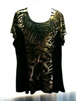 WOMEN'S SUSAN LAWRENCE BLACK BROWN EMBELLISHED ANIMAL PRINT STRETCHY TOP SIZE 2X