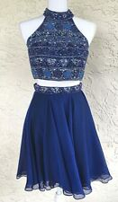 Sherri Hill Size 2 High Neck Homecoming/Prom Dress Midnight Blue Beaded Sequins