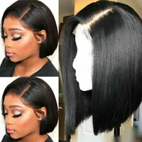 100% Remy Human Hair Wig Long Bob Straight Pre Plucked Natural Lace Front Wigs #